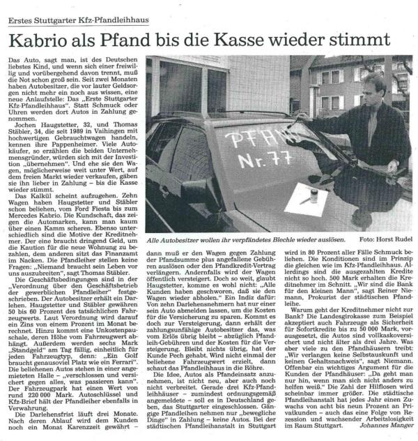 Presseartikel: Stuttgarter Kfz-Pfandleihhaus