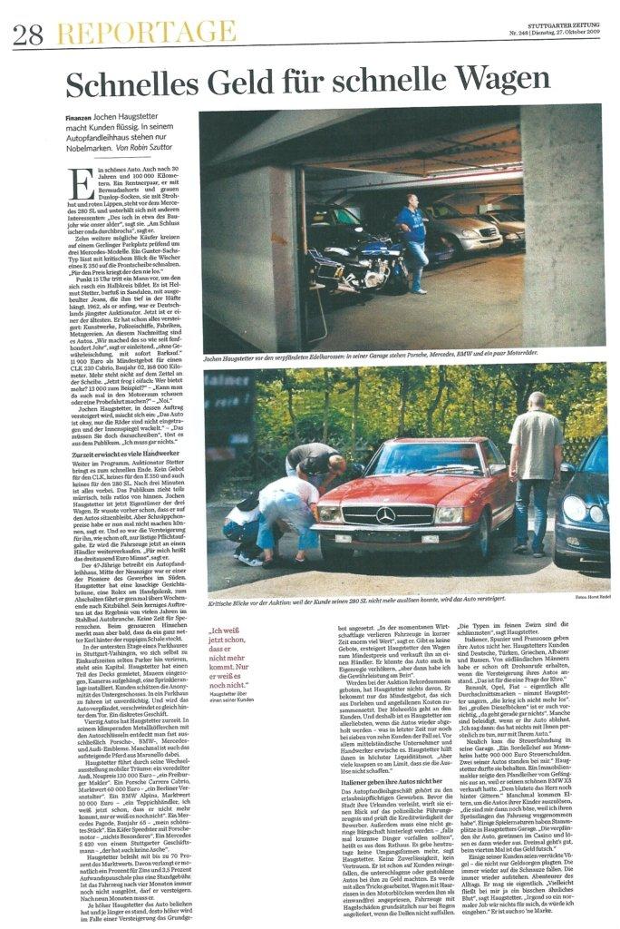 Presseartikel: Schnelles Geld für schnelle Wagen