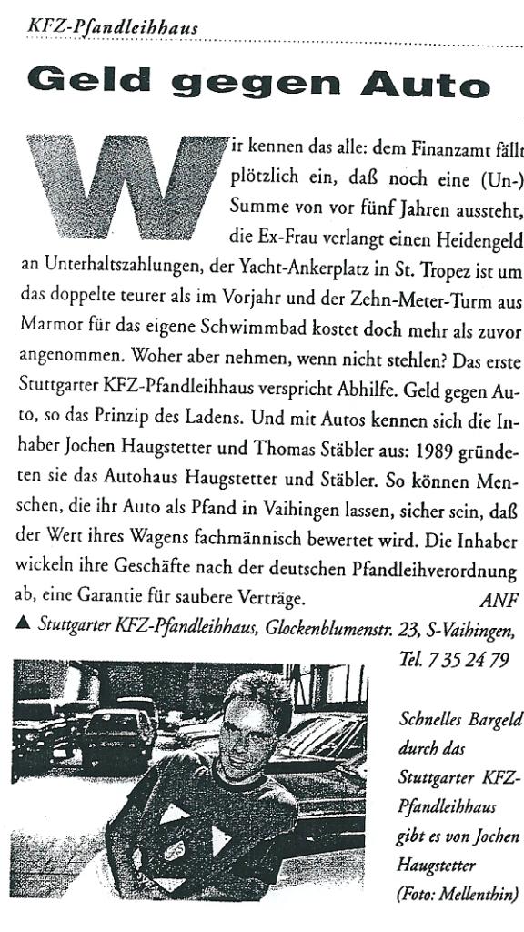 123 Pfand Kfz-Pfandleihhaus: Geld gegen Auto